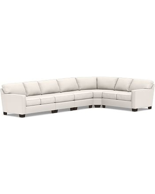 Buchanan Square Arm Upholstered 5-Piece Curved Sectional, Polyester Wrapped Cushions, Sunbrella(R) Performance Chenille Salt