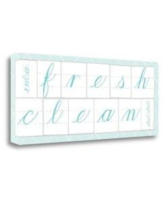 """Tangletown Fine Art 'Fresh Clean Blue' by Sue Schlabach Textual Art on Wrapped Canvas WA612541-2812c Size: 16"""" H x 40"""" W"""