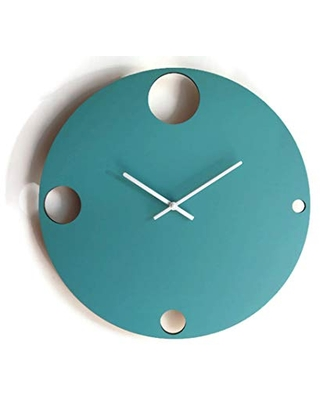 16,5 Inch large wooden quiet contemporary wall clock in many colors as turquoise No ticking big modern frame clocks Silent wide wood wallclock for entry Office frameless wallclocks xl
