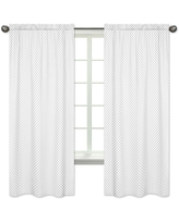 Sweet Jojo Designs Grey and White Polka Dot Watercolor Floral Collection 84-inch Window Treatment Curtain Panel Pair