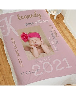Modern All About Baby Girl Personalized 50x60 Plush Fleece Photo Blanket