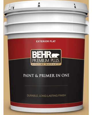 BEHR PREMIUM PLUS 5 gal. #310F-4 Rye Flat Exterior Paint and Primer in One