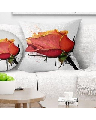 """East Urban Home Floral Isolated Rose Watercolor Sketch Pillow FUSI4933 Size: 16"""" x 16"""" Product Type: Throw Pillow"""