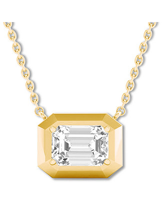 Emerald-cut Diamond Solitaire Necklace 1/5 ct 14K Yellow Gold