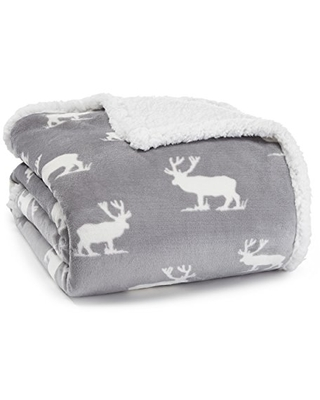 Eddie Bauer Ultra-Plush Collection Throw Blanket-Reversible Sherpa Fleece Cover, Soft & Cozy, Perfect for Bed or Couch, Elk Stance Grey