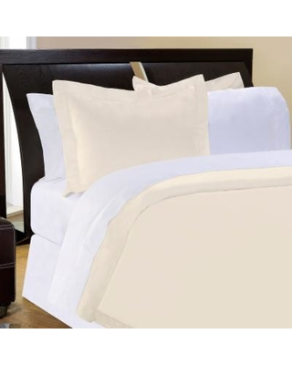 Pointehaven Solid 400-Thread Count Pima Cotton Sateen 3-pc. Ivory Duvet Cover Set - Full/Queen, White
