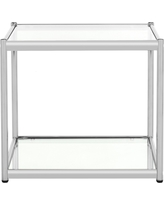 Lilias Glass End Table Chrome (Grey) - Safavieh