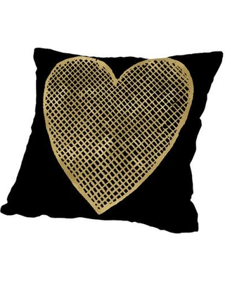 """East Urban Home Heart Crosshatched Throw Pillow ESRB6644 Size: 16"""" H x 16"""" W x 2"""" D"""