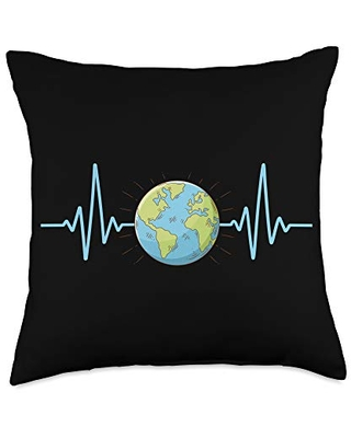 Natural environment Gift Heartbeat | Happy Earth Day Throw Pillow, 18x18, Multicolor