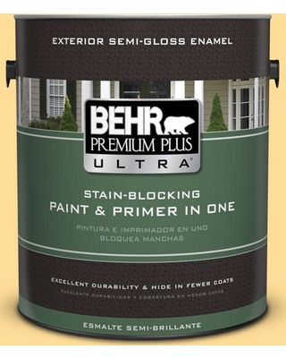 BEHR Premium Plus Ultra 1 gal. #350B-5 Straw Hat Semi-Gloss Enamel Exterior Paint and Primer in One