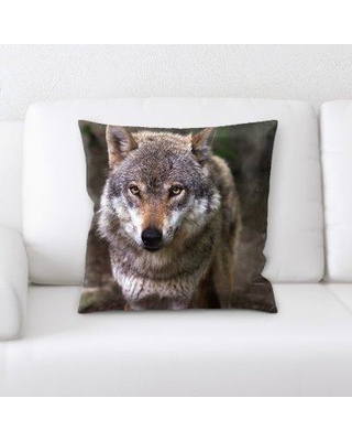 East Urban Home Wolf Throw Pillow W000237665
