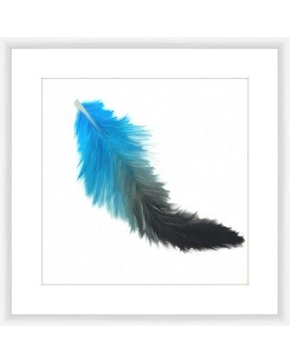 PTM Blue Feather Framed Graphic Art 2-13545A
