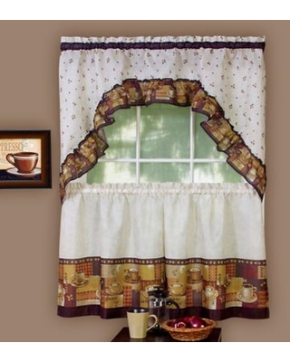 New Deals On Achim Coffee 36 Inch Kitchen Window Curtain Tier Pair And Swag Valance In Brown Linen
