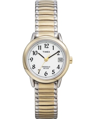Women's Timex Easy Reader Expansion Band Watch - Two-Tone T2H381JT, Black/Silver/Silver