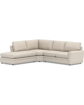 Pearce Square Arm Upholstered Right 3-Piece Bumper Wedge Sectional, Down Blend Wrapped Cushions, Performance Brushed Basketweave Oatmeal