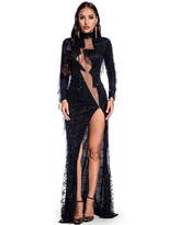 Milanoo Evening Dress Apricot Long Sleeve Polyester Sequins Fringe Split Gowns Long Party Dress Bodycon Pageant Dress