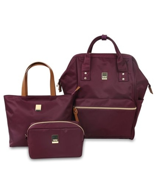 J World Posy Backpack With Travel Tote And Pouch, Wine