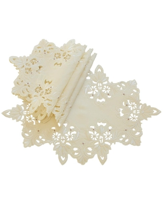 Xia Home Fashions 12 in. x 18 in. Ivory Victorian Lace Embroidered Cutwork Placemat (Set of 4), Beige