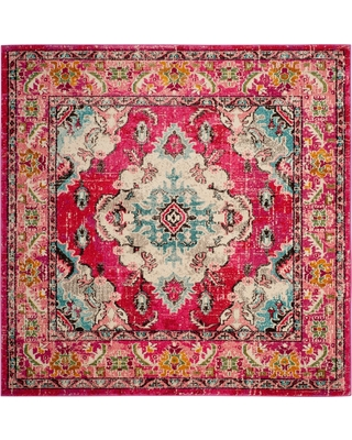 9'X9' Medallion Square Area Rug Pink - Safavieh, Pink/Multi-Colored