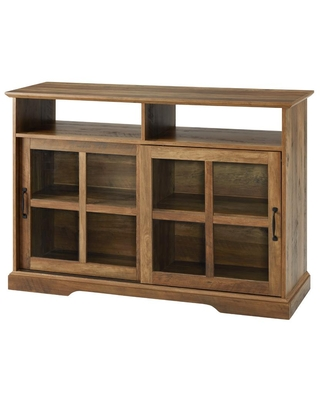 Welwick Designs Reclaimed Barnwood and Glass Classic Sideboard with 2-Sliding Doors