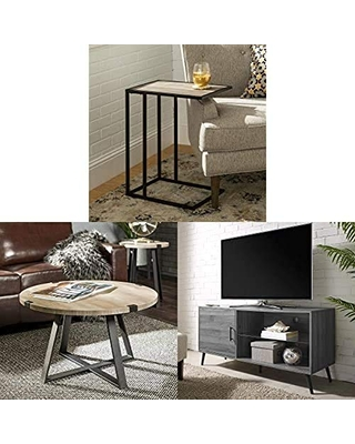 Walker Edison Furniture Modern Side End Accent C Table Living Room with Coffee Accent Table Living Room and Universal Stand for TV Cabinet Door and Shelves