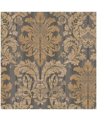 "Ophelia & Co. Dorcheer Damask 33' L x 20.5"" W Wallpaper Roll BF133751 Color: Charcoal/Silver/Tan"