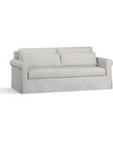 "York Roll Arm Slipcovered Deep Seat Sofa 84"" with Bench Cushion, Down Blend Wrapped Cushions, Basketweave Slub Ash"
