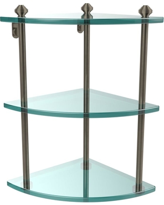 Allied Brass Southbeach Collection 8 in. 3-Tier Corner Glass Shelf in Antique Pewter