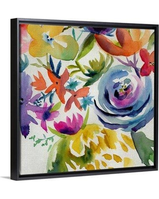 """Bungalow Rose 'Summer Spectrum I' Painting on Canvas W000019865 Format: Black Floater Framed Size: 21.7"""" H x 21.7"""" W x 1.75"""" D"""