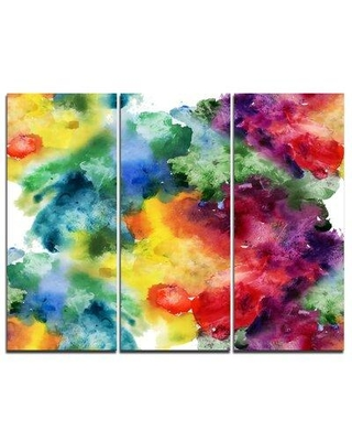 Design Art Abstract Watercolor Texture - 3 Piece Painting Print on Wrapped Canvas Set PT6038-3P