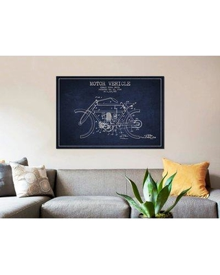 """East Urban Home 'Edward Y. Motor Vehicle Patent Sketch' Graphic Art Print on Canvas in Navy Blue ERBR0051 Size: 18"""" H x 26"""" W x 0.75"""" D"""