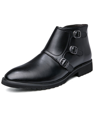 Milanoo Boots For Men Round Toe PU Leather Buckles Ankle Boots