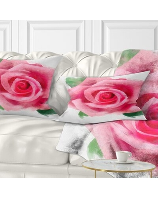 Floral Big Rose Flower with Leaves Lumbar Pillow