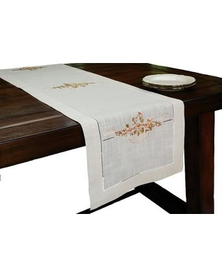 Xia Home Fashions Linen Flowers Crewel Embroidered with Hemstitch Cutwork Table Runner XD680461554