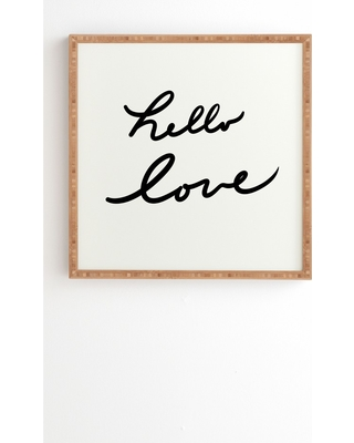 """12""""x12"""" Lisa Argyropoulos Hello Love On White Framed Wall Art Poster Print White - Deny Designs"""