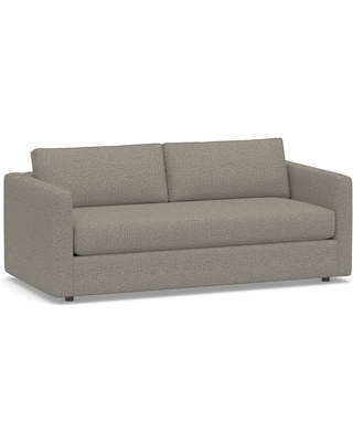 """Carmel Slim Square Arm Upholstered Sofa 80.5"""" with Bench Cushion, Down Blend Wrapped Cushions, Performance Chateau Basketweave Light Gray"""