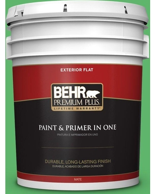 BEHR Premium Plus 5 gal. #P390-6 Lawn Party Flat Exterior Paint and Primer in One