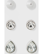 Earring Set 3ct - A New Day Silver/Clear, Size: Small
