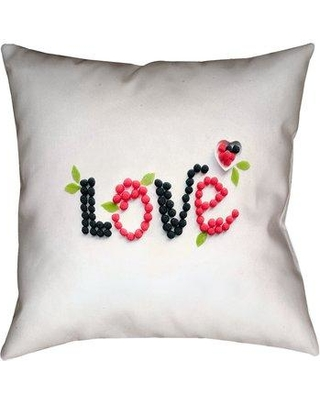 """Latitude Run Buoi Love and Berries Double Sided Print Throw Pillow LDER2044 Size: 36"""" x 36"""""""