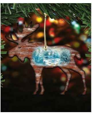 Woodsy Moose Scenic Hanging Shaped Ornament The Holiday Aisle®