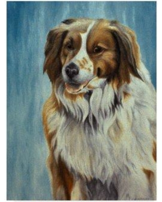 """Trademark Fine Art 'Dog On Blue' Graphic Art Print on Wrapped Canvas ALI33159-CGG Size: 19"""" H x 14"""" W x 2"""" D"""