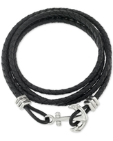 Legacy for Men by Simone I. Smith Anchor Clasp Braided Leather Wrap Bracelet