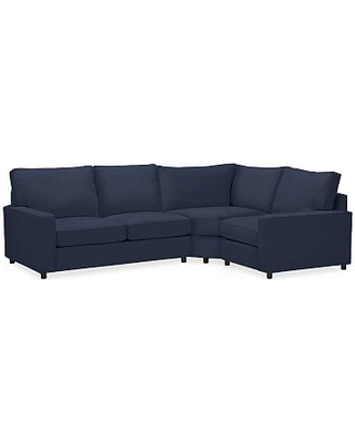 PB Comfort Square Arm Upholstered Left Arm 3-Piece Wedge Sectional, Box Edge Memory Foam Cushions, Twill Cadet Navy