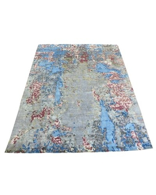 """One-of-a-Kind Hand-Knotted Blue/Gray/Brown 7'11"""" x 10'1"""" Area Rug"""