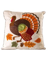 """Embroidered 18"""" x 18"""" Turkey Decorative Pillow Cover - Beige"""