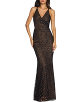 Dress the Population Helen Lace Trumpet Gown, Size X-Large in Black/Tan at Nordstrom
