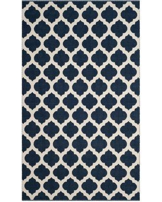 Charlton Home Romona Hand-Knotted Cotton Navy/Ivory Area Rug CHRL1487 Rug Size: Rectangle 8' x 10'