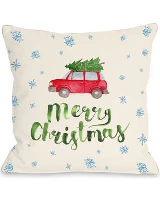 One Bella Casa Merry Christmas Car Tree 16 in. x 16 in. Decorative Pillow, Multi