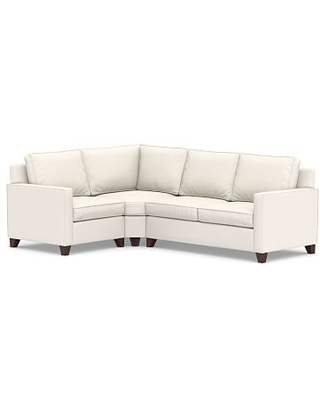Cameron Square Arm Upholstered Right Arm 3-Piece Wedge Sectional, Polyester Wrapped Cushions, Performance Chateau Basketweave Ivory