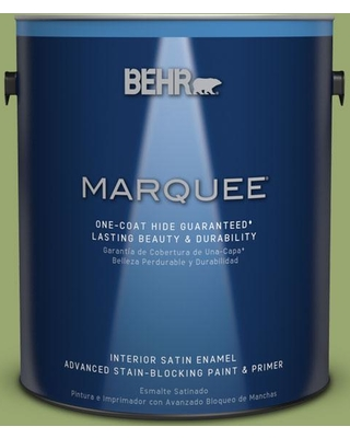 BEHR MARQUEE 1 gal. #MQ4-43 Green Plaza One-Coat Hide Satin Enamel Interior Paint and Primer in One